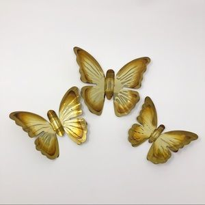 Vintage Metal Butterfly Trio Wall Decor
